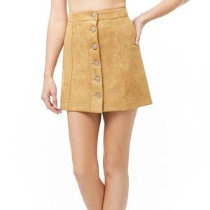 Camel Button Down Faux Suede Mini Skirt